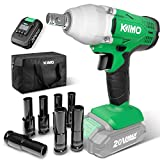 KIMO 20v Cordless Impact Wrench 1/2 inch, 170 Ft-lb High Torque 3400 IPM, Variable Speed, 7 Sockets Li-ion Battery with Fast Charger, Compact Electric Impact Wrench Set for Home&Car