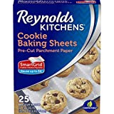 Reynolds Kitchens Cookie Baking Sheets, Pre-Cut Parchment Paper, 25 Sheets (Pack of 4), 100 Total Sheets