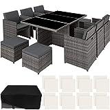 TecTake Aluminium Poly Rattan Sitzgruppe klappbar für bis zu 10 Personen