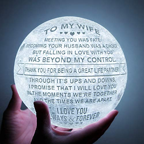 Engraved 3D Moon Lamp for Wife ,Personalized 5.9 Inch 3D...