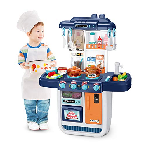 Elf Lab Kitchen Playset,Kids Pretend Play Kitchen with Cooking Accessories Set, Toy Kitchen Sets with Play Sink, Realistic Lights, Sounds and Simulation of Spray, for Grils and Boys Ages 3+(Blue)