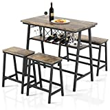 VIPEK 4-Piece Wooden Dining Table Set for Kitchen, Bar, Bonus Room, Industrial Style Counter Height Dining Set with Rectangular Table, Bench, 2 Stools, Steel Frame, Space-Saving Design - Rustic Brown