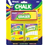 2 Pack - BAZIC 12 Color and 12 White Chalk with Eraser Sets, Assorted