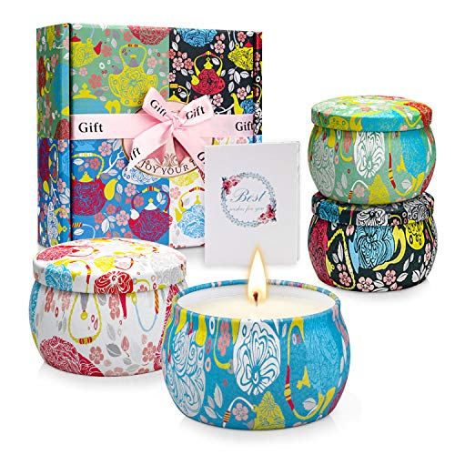 Scented Candles Relaxation Aromatherapy Candle Gift Set with Floral Tin for Women on Mother's Day, Birthday, Festivals, Wedding, Party (4 Pack)