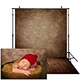 Allenjoy 5x7ft Soft Fabric Abstract Brown Wall with Wood Floor Backdrop for Newborn Baby Photography Photoshoot Retro Portrait Photo Background Photographer Props