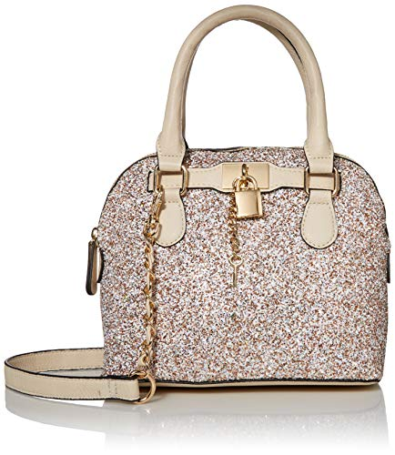 "51rTnERXyYL Sparkle finish: multi-colored glitter adds a statement look to an otherwise simple structured top-handle satchel Man-made materials: this women's top-handle bag is made from 100% man-made materials Dimensions: 9"" W x 7"" H x 5"" D"