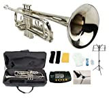 Merano B Flat Silver Trumpet with Case+Mouth Piece+Valve Oil+Metro Tuner+Black Music Stand+Trumpet Stand