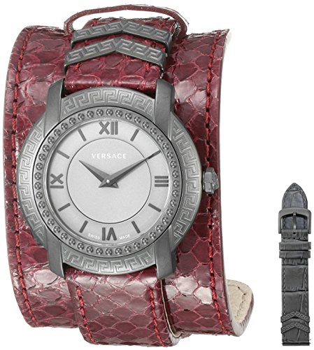 51rVGnQZhQL 36 mm Iron Plated grey case; Top ring with Greek engraving Grey matte dial; Burgundy elaphe strap with cuff and metal inserts Swiss-quartz Movement