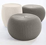 Keter Urban Knit Pouf Ottoman Set of 2 with Accent Table for Patio Decor, Harvest Brown/Cream
