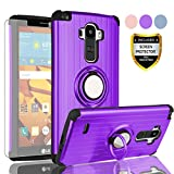 AYMECL LG G Stylo Phone Case,LG G4 Stylus Case with HD Screen Protector,(Not Fit LG G4) 360 Degree Rotating Ring Holder Travel Case Scratchproof Cover for LG LS770-SH Purple