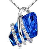 Leafael womens Wish Stone Pendant Necklace Made Swarovski Crystals (Sapphire Blue Silver Tone) Gifts Women Mother Daughter September Birthstone Jewelry