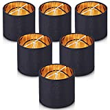 Wellmet Lampshades,Small Chandelier Shades ONLY for Candle Bulbs,Clip-on Drum Lampshades,Set of 6, 5.5'x 5.5'x5',Black Gold