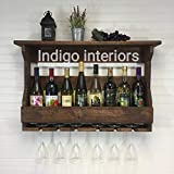 Indigo interiors Jorden Wooden Wall Hanging Design Bar | Bar Cabinets for Home | Mini Bar for Home | Solid Wood Make Wine Storage Cabinet with Glass Hanging Space-Walnut Finish