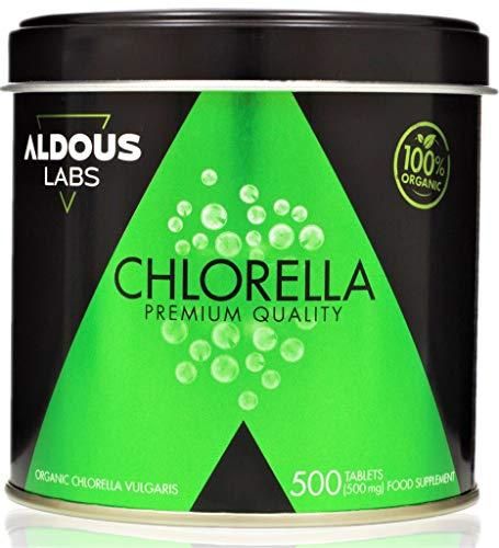 Chlorella Ecológica Premium para 165 días - 500 comprimidos de 500mg - Pared celular rota - Vegano - Libre de Plástico - Certificación Ecológica Oficial