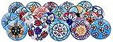 20 tiradores vintage de cerámica con distintos diseños de flores, ideales para puertas, armarios,...