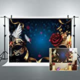 Riyidecor Masquerade Backdrop Golden Rose Birthday Party Feather Dark Blue Photo Photography Background 7WX5H Feet Newborn Decorations Baby Shower Props Photo Shoot Vinyl Cloth