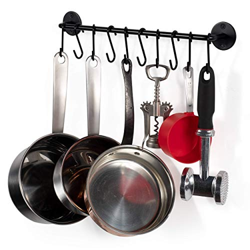 Wallniture Cucina 16' Wall Mount Kitchen Utensil Holder with 10 S Hooks for Hanging Pots and Pans Set and Lid...