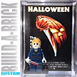 Build-A-Brick Halloween Michael Myers Custom Mini Action Figure w/ Display Case, UV Protected 2-Sided Custom Collectible Movie Poster Card Gift for Boys & Adult Vintage Toy Horror Collector Series