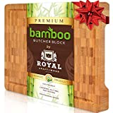 """Organic Bamboo Cutting Board with Juice Groove - Best Kitchen Chopping Board for Meat (Butcher Block) Cheese and Vegetables 