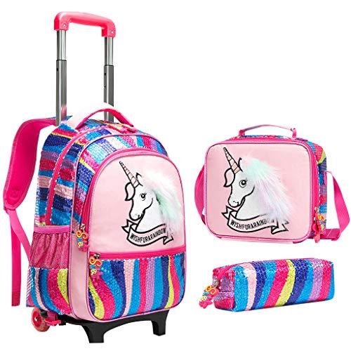 Rucksack Mädchen Schulranzen Trolley, Kinder Pailletten Rucksack Trolley Einhorn Schultasche mit Mittagessen Umhängetasche Bleistiftetui Schultaschen-Sets für Schule Reise