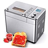 CalmDo Bread Machine, 2.2LB Stainless Steel Bread Maker with Automatic Fruit Nut Dispenser, Nonstick Ceramic Pot, 15-in-1 Menu Settings, 3 Loaf Sizes, 3 Crust Colors for Home Bakery