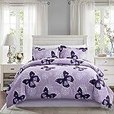 ARTALL Lightweight Microfiber 3 Piece Comforter Set with 2 Shams, Butterfly Pattern Bedding Set, Full/Queen, Purple