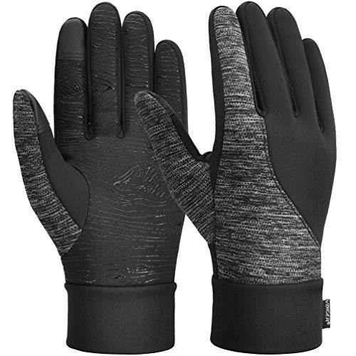 VBIGER Unisex Winter Gloves Cycling Gloves Running Gloves Touch Screen Driving Gloves Anti-slip Thermal Sports Gloves with Updated Thickened Fleece Lining, S, Black