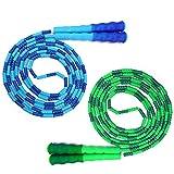 TAGVO Soft Beaded Springseil (2er Pack), Rutschfester Griff mit frei segmentierter Sprungschnur,...