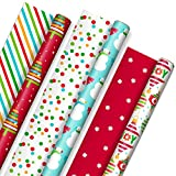 Hallmark Reversible Christmas Wrapping Paper for Kids (3 Rolls: 120 sq. ft. ttl) Vibrant Brights, Stripes, Trees, Ornaments, Polka Dots (Kitchen)