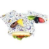 Langsprit Premium Reusable Sandwich & Snack Bags-Washable Lunch Bags - Set of 3 - (Planet)