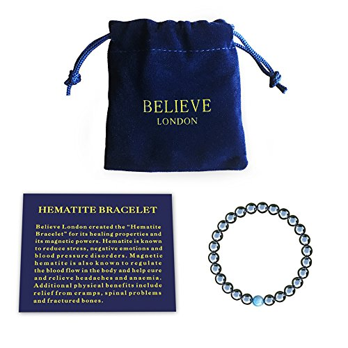 Believe London Hematite Magnetic Therapy Bracelet with...