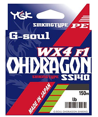 よつあみ(YGK) PEライン G-SOUL オードラゴン WX4F-1 SS140 150m 0.4号 7.5lb 4本 ウグイスグリーン