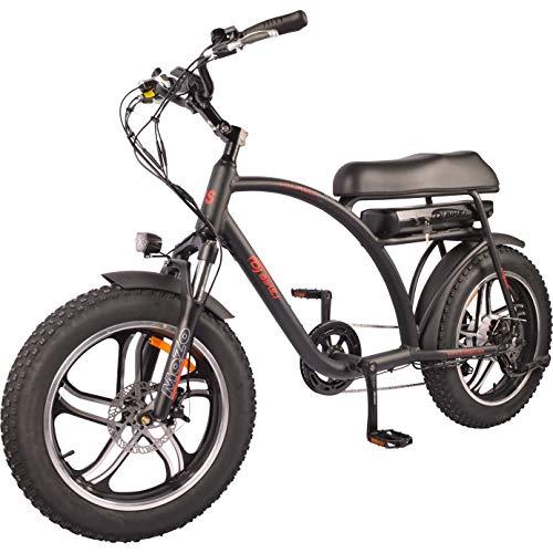 DJ Super Bike 750W 48V 13Ah Power Electric Bicycle, Matte Black, LED Bike Light, Suspension Fork and Shimano Gear