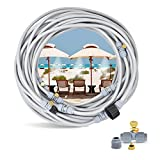 Karveden [Upgraded Misting Cooling System - Outside Mister Hose 83FT + 25 Mist Nozzles + 3/4' Faucet Adapter for Patio Garden, Greenhouse, Trampoline Waterpark, Fan