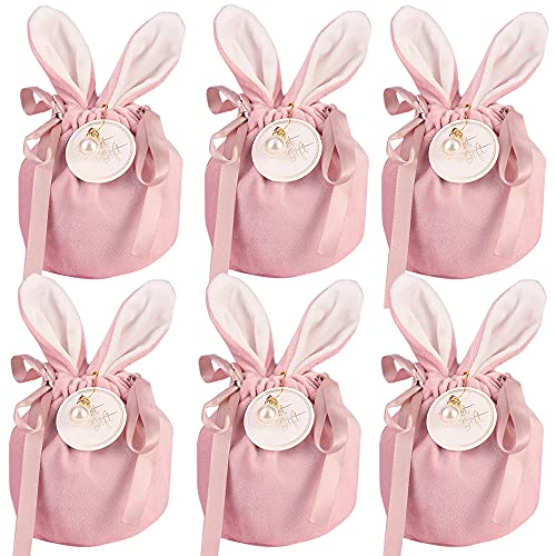 Bolsas de Terciopelo,6 pcs Bolsas de regalo de boda Bolsas de dulces Bolsas de joyería con Cordón,para la Boda del Partido Favor de Embalaje (rosa)