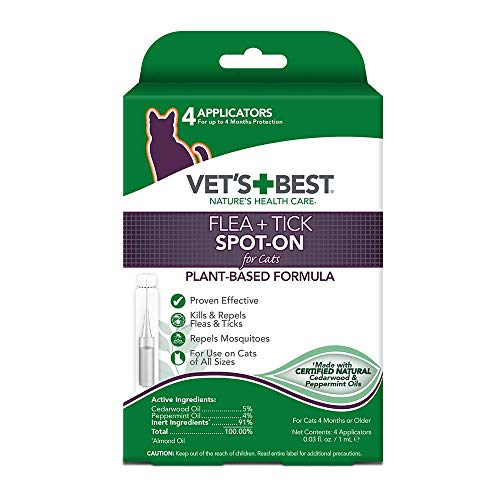 Vet's Best Flea + Tick Spot-On for Cats| Cat Flea and Tick Treatment and Prevention| Made with Certified Natural Oils |