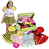 Fedio Girls Princess Dress up Trunk Ladybug, Bee, Fairy Costume for Little Girls Toddlers Age 3-7 Pink