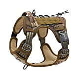 Auroth Tactical Dog Training Harness No Pulling Front Clip Leash Adhesion Reflective K9 Pet Working Vest Easy Control for Small Medium Large Dogs Desert Camo S