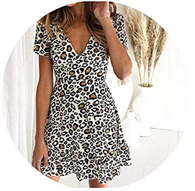 ❤Neckline:V-Neck,Pattern Type:Print,Decoration:Ruffles ❤style:Vintage,Sleeve Length(cm):Short,Waistline:Natural ❤Material:Polyester,Spandex,Gender:Women,Season:Summer ❤Silhouette:A-Line,Sleeve style:Regular,Dresses Length:Above Knee, Mini ❤Brand Name...