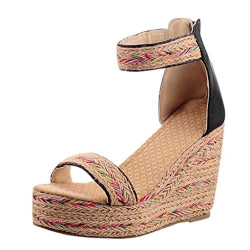 Sandalias Mujer CuñA Zapatos con Plataforma de Cuerda de CáñAmo Wedge TacóN 10cm Sandalias con Estampado éTnico Zapatillas Romanas Verano Zapatos Planos de Boho Playa de Tacones Altos 35-43EU