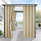 RYB HOME Outdoor Patio Curtains - Heavy Weighted Porch Waterproof Curtains Outside Shade for Farmhouse Cabin Pergola Cabana Corridor Terrace, 1 Panel, 52 x 95 inches Long, Biscotti Beige