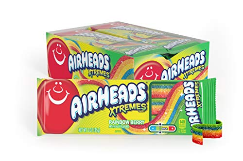 AirHeads Xtremes Sweetly Sour Candy Belts, Bulk Gifts Box, Rainbow Berry, Party, Non Melting, 3 Ounce (Bulk Pack of 12)