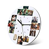 Horloge Murale Photo Personnalisée avec Photos Pendules murales en Bois Personnalisées pour la Famille Mère Anniversaire Mariage Anniversaires Cadeau...