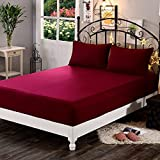 Dream Care Waterproof Terry Cloth Fitted Mattress Protector for King Size Bed with Elastic Strap - 78'x72', Maroon