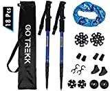 2 Bastones de senderismo profesionales + accesorios múltiples + bandana deportiva ,Trekking poles telescópicos 60-135 cm, Ultra ligeros, Plegables, Aleación de Aluminio, Anti Choque, Color Azul