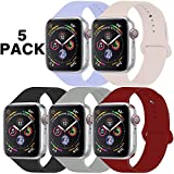 GZ GZHISY Pack 5 Sport Bands Compatible for Apple Watch Band 38mm 40mm, Soft Silicone Band Sport Strap Compatible for iWatch Series 5/4/3/2/1 (Lilac/Pinksand/Black/Concrete/Wine Red, M/L)