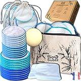 coffret (28) coton demaquillant lavable/disque reutilisable fibre de bambou triple épaisseurs(14) +...