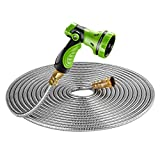 Beaulife New 304 Stainless Steel Metal Garden Hose with 8 Functions Metal Garden Hose Nozzle 100ft|Flexible, Portable & Lightweight - No Kink, Tangle & Puncture Resistant