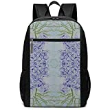 Yuanmeiju Blue Wisteria and Butterflies Unisex Custom Bolsas de Hombro,Adult Student Double Zipper Closure Bolso de Escuela Informal