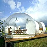 Inflatable Bubble Camping Tent 10ft Commercial Grade Outdoor Clear Dome Camping Cabin Bubble Tent with Blower for DIY Outdoor Backyard Camping Stargazing (10ft Transparent Tent + 6.6ft White Tunnel)
